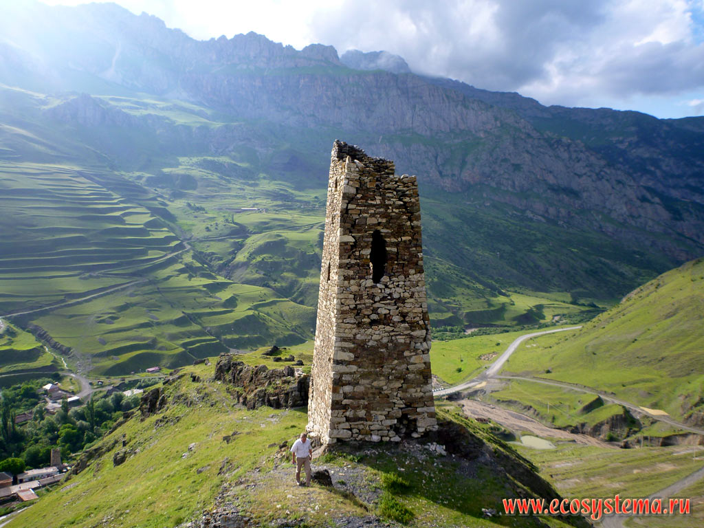 Dilapidated watchtower on the outskirts of the village of Upper Fiagdon in the valley of the river Fiagdon in the foothills of the Greater Caucasus