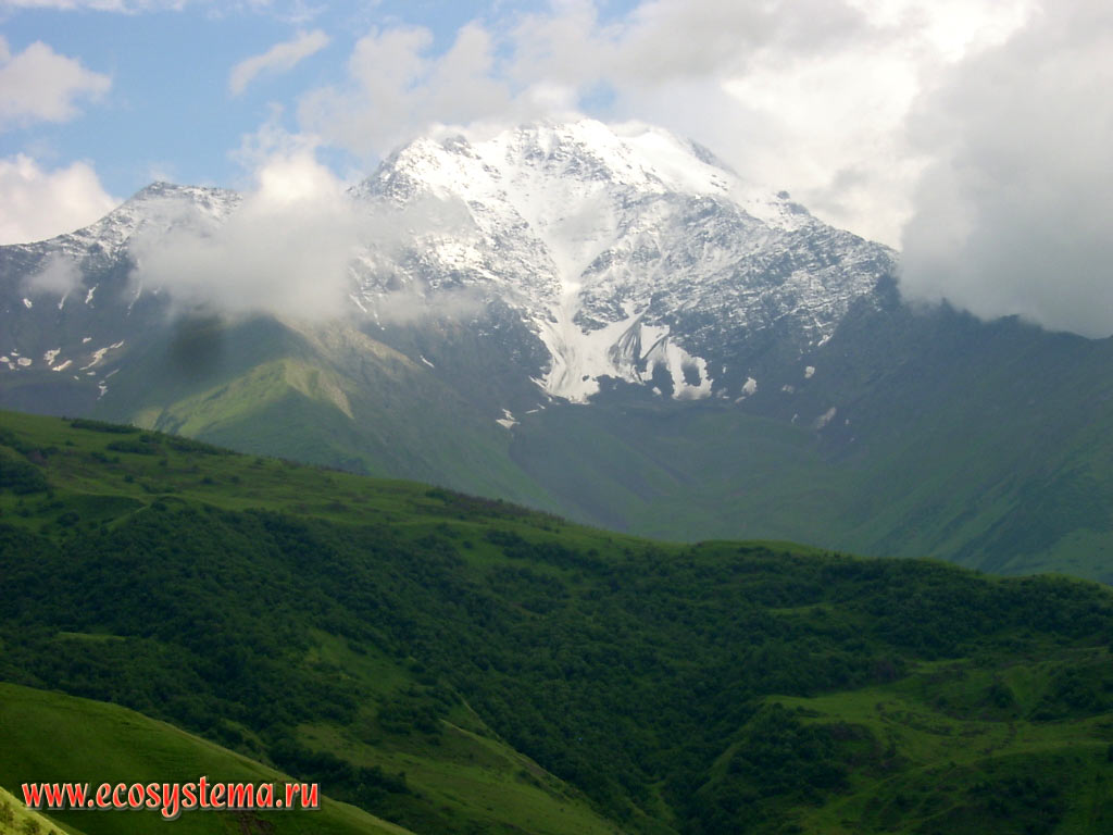 One of the peaks of the Main Caucasus range with high-altitude zone - deciduous forests in the foothills, subalpine and Alpine meadows in the Midlands and Nival zone in the upper part
